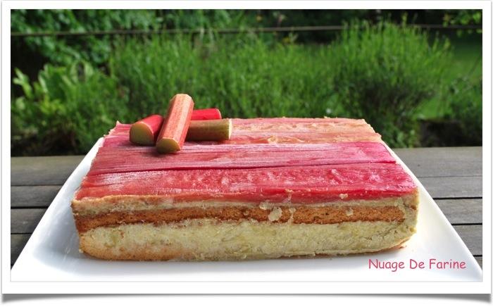 Mousse de rhubarbe sur son biscuit