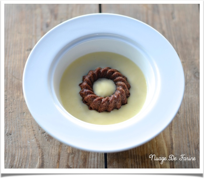 Fondants chocolat-marron et crème anglaise