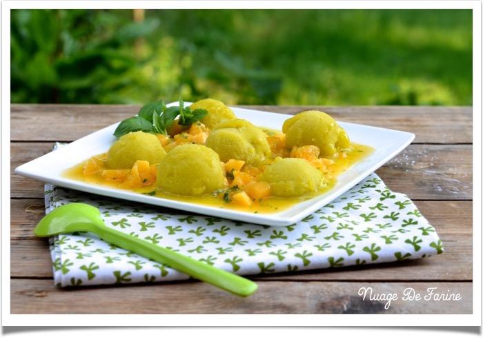 Sorbet mangue orange au basilic et à la menthe