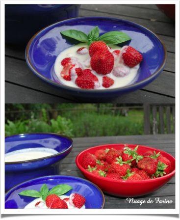 Crème anglaise 100% végétale accompagnée de fraises
