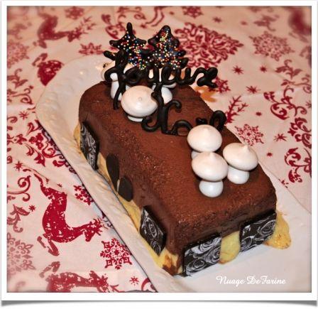 Bûche à la mousse au chocolat noir et crème vanille